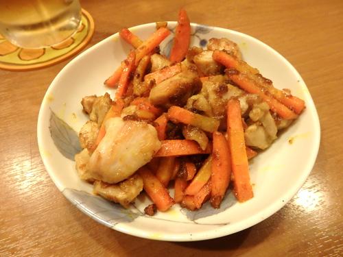 15人参と鶏肉カレー炒め