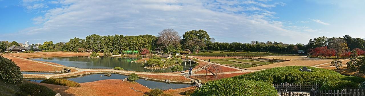 s-20151212 後楽園今日の園内冬景色ワイド風景 (1)