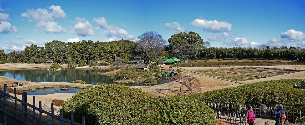 s-20160122 後楽園今日の唯心山六角堂から眺めた園内ワイド風景 (1)