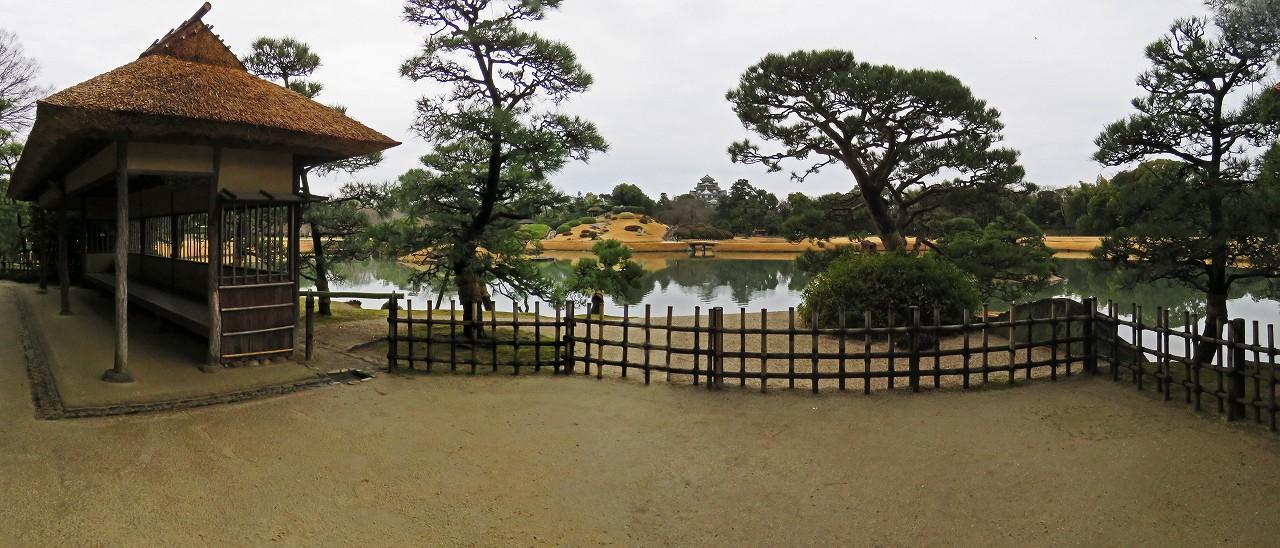 s-20160130 後楽園今日の観光定番位置からの眺め沢の池ワイド風景 (1)