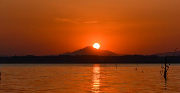 落日の涸沼・夕景
