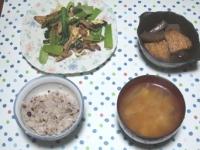 12/15 夕食 豚と小松菜の玉子炒め、こんにゃくとさつま揚げの煮物、豆腐と長ネギの味噌汁、雑穀ごはん