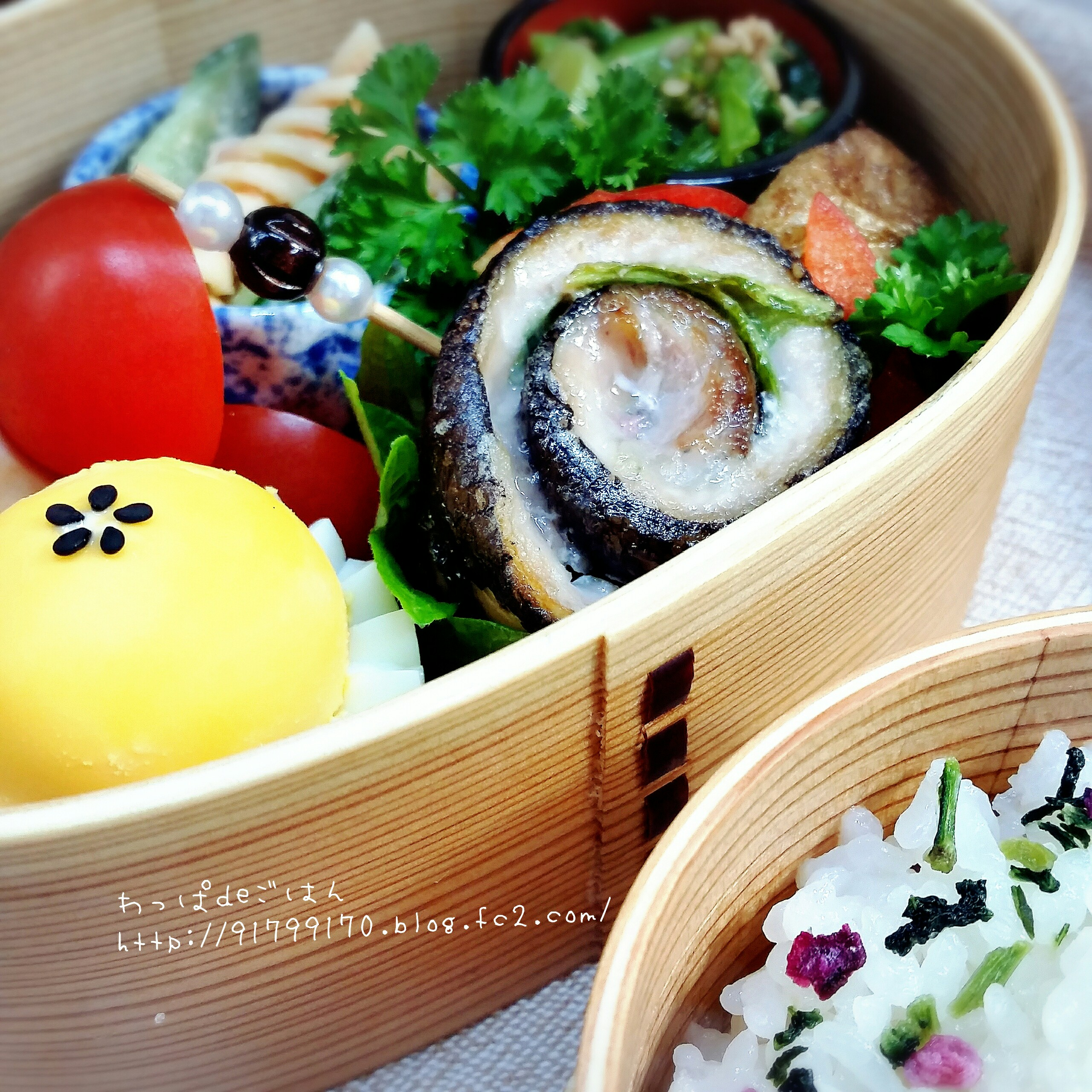 秋刀魚の梅紫蘇巻き弁当