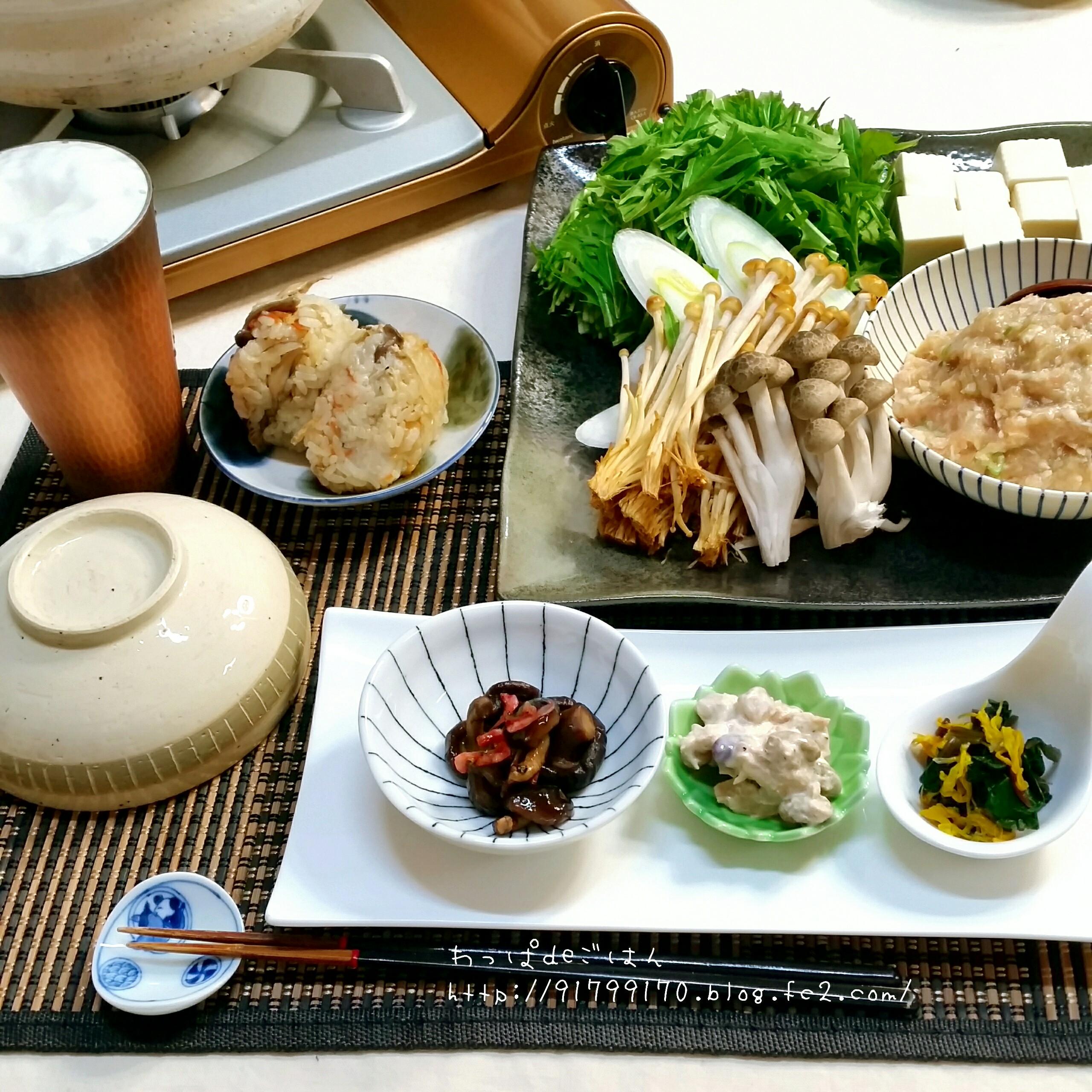 鶏団子の鍋の晩ごはん