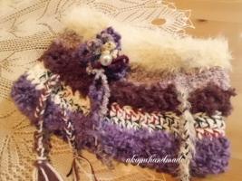 手編みスヌード パープル