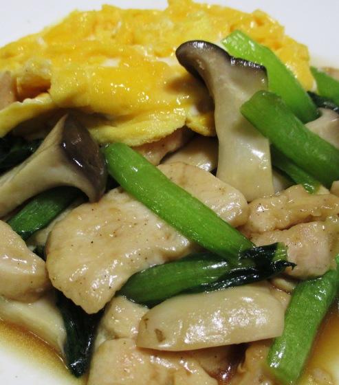 鶏むね肉のオイスターソース炒め 卵焼きのっけ 拡大