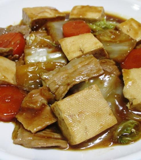 豆腐と豚こまの甘味噌煮 大