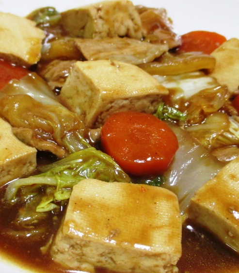 豆腐と豚こまの甘味噌煮 拡大