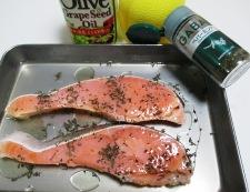 塩鮭のレモンミントソテー 調理①