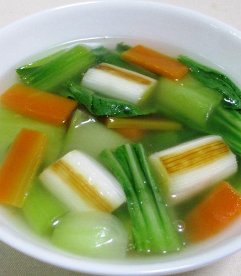 青梗菜と焼きねぎのスープ 大
