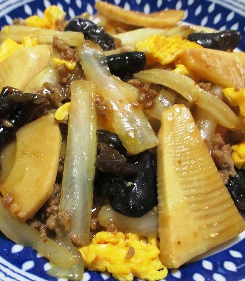 白菜と筍のそぼろ炒め 大