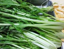 水菜とお揚げ 調理①