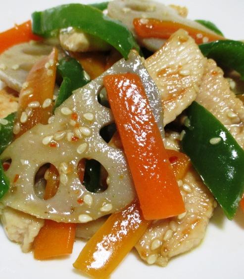 鶏むね肉とレンコンのピリ辛炒め 大