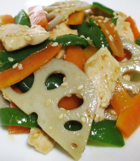 鶏むね肉とレンコンのピリ辛炒め B
