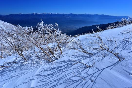 冬の雪原と南アルプス