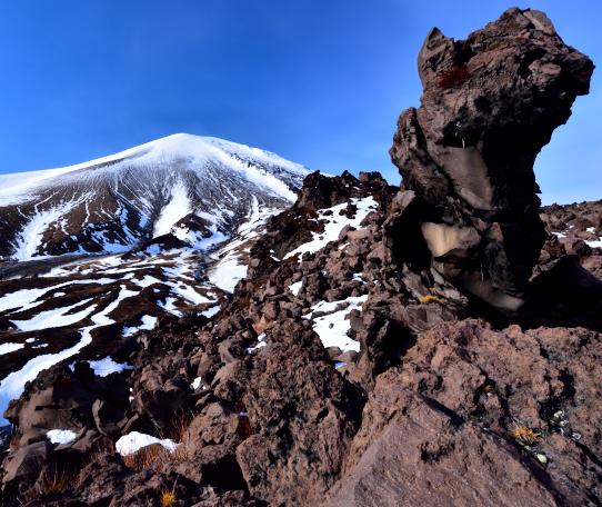 生々しい溶岩オブジェの浅間山