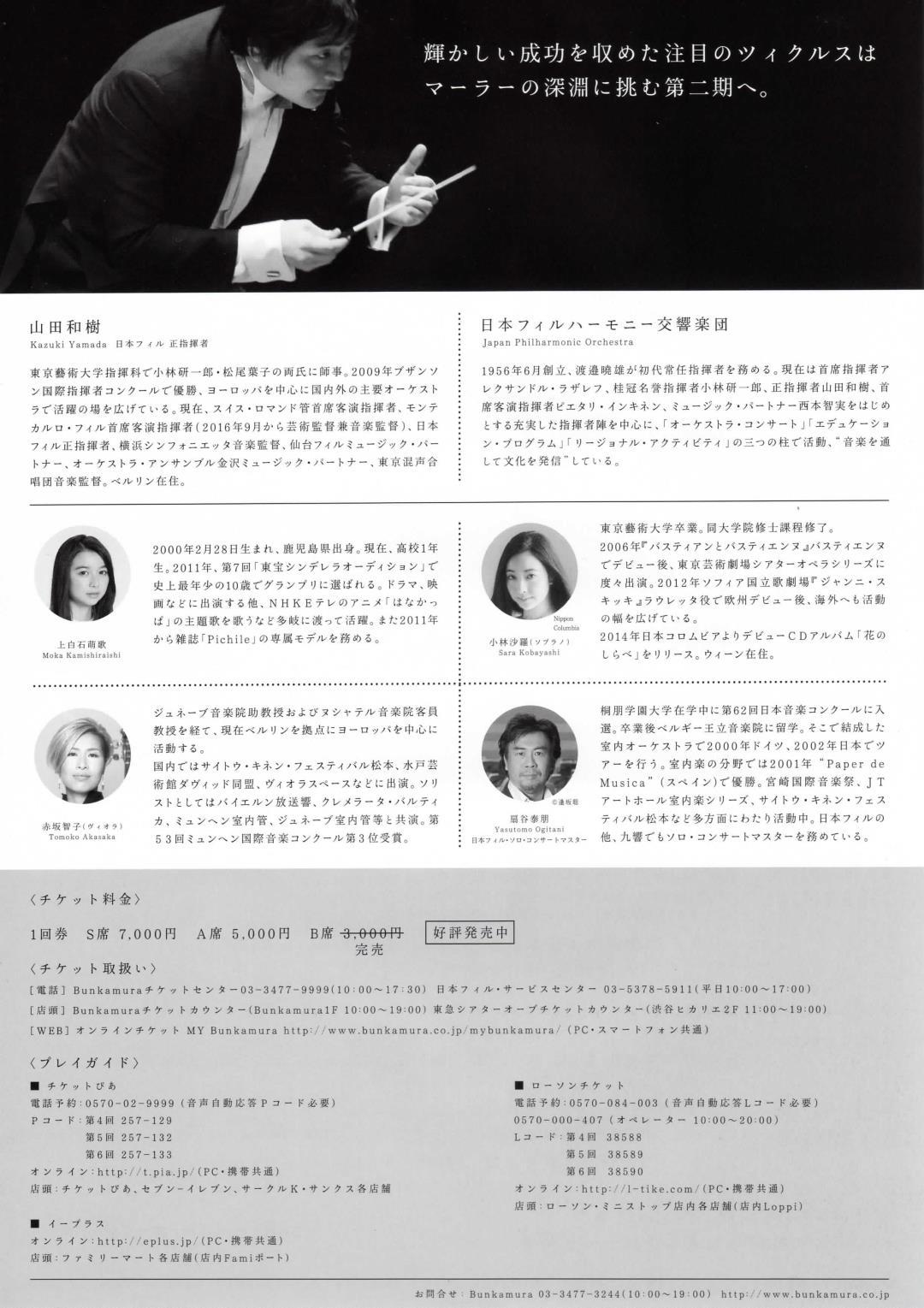 山田和樹×日フィル マーラー・ツィクルス チラシ裏