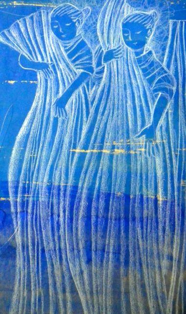 青緑の夢・布を洗う尼僧