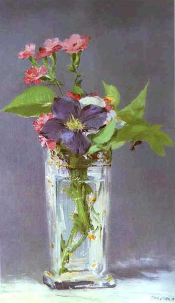 水晶の花瓶に活けたクレマチス アート名画館 マネ