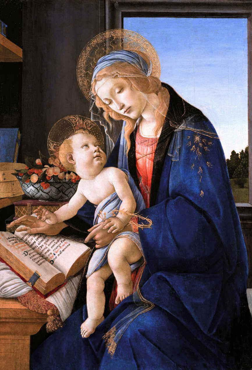 ボッティチェリ 聖母子 書物の聖母 アート名画館