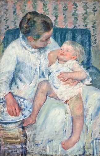 メアリーカサット アート名画館 眠たい子供を沐浴させる母親