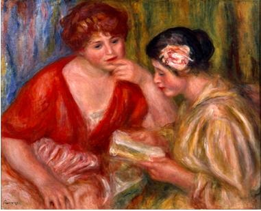 ルノワール「読書ー赤とピンクのブラウスを着た二人の女性」1918年