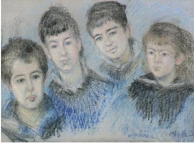 モネ「オシュデ家の子ども達」1880年初め