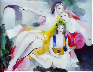 三人の若い女 マリーローランサン アート名画館