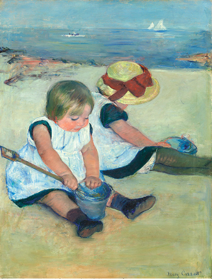 浜辺で遊ぶ子どもたち メアリーカサット