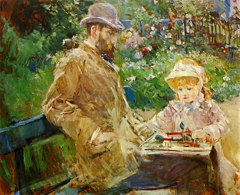 ブージヴァルの庭のウジェーヌ・マネと娘 ベルト・モリゾ