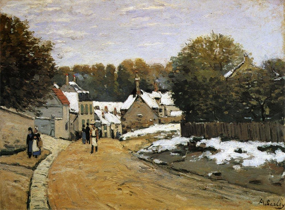 ルーヴシエンヌの初雪 シスレー アート名画館