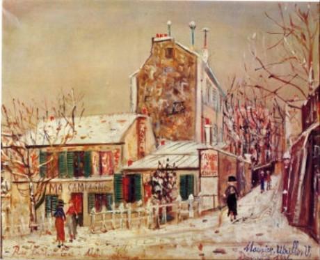 雪のラパン・アジル ユトリロ アート名画館