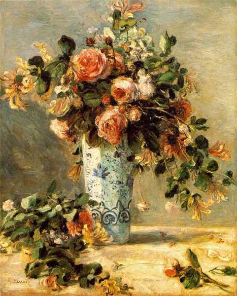ルノワール 花瓶にはいったバラとジャスミン ルノアール