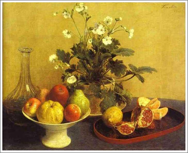 アンリ ラトゥール 花と皿に入った果物と水差し