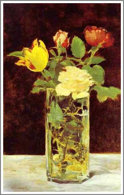 マネ 花瓶のローズとチューリップ アート名画館