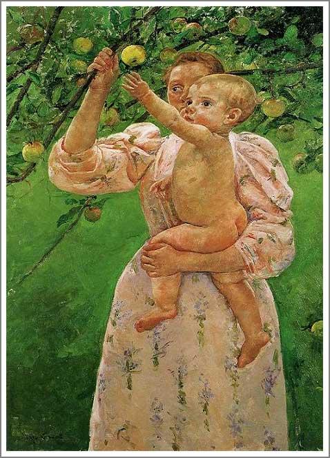 林檎に手を伸ばす赤ん坊 果実をとろうとする子ども カサット