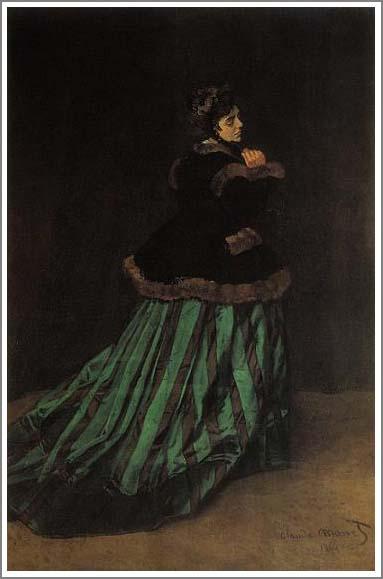 モネ 緑色のドレスを着た女性 緑衣の女性