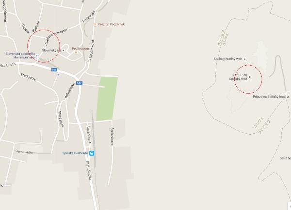 スピシュ城地図