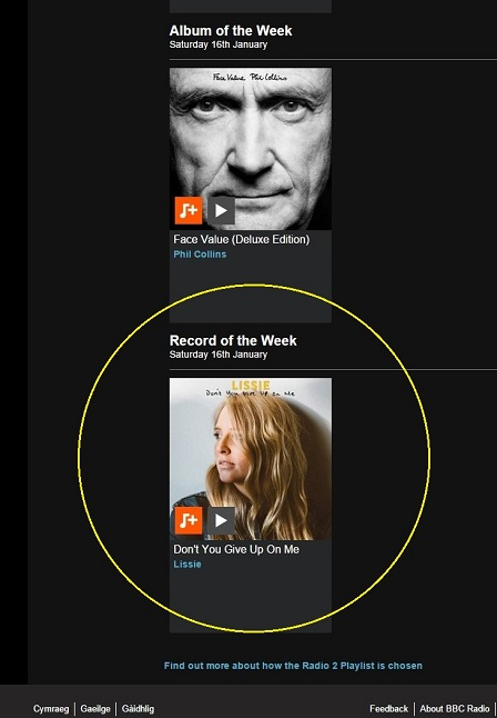 Lissie - Dont You Give Up On Me is Radio 2s Record Of The Week
