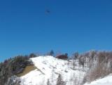 避難小屋の上空のヘリ