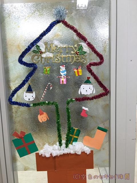 病棟のガラス窓 クリスマス仕様  空色のセキセイ珠霞