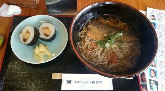 昼食(ニシン蕎麦と寿司)
