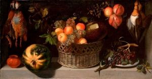 Juan van der Hamen y León, Still Life with a Basket of Fruit and Game Fowl c. 1621