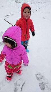 雪で大喜び