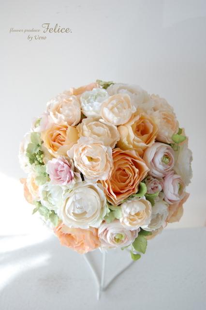 造花ラウンドブーケ かわいい プレ花嫁 ブーケ