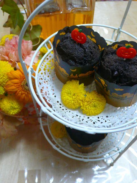 花とハロウィンブラックココアマフィン2015