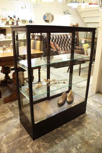 ショーケース ガラスケース 飾り棚 木製 レトロ 店舗什器 陳列棚
