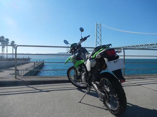 明石海峡大橋とKLX250