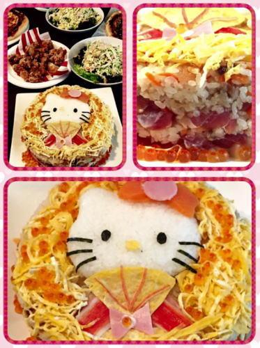 ひな祭り 創作寿司 キティちゃんのひなケーキ