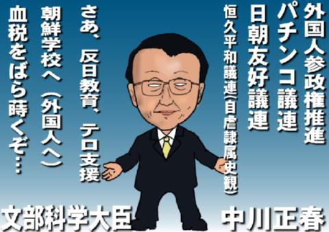 野田内閣の閣僚似顔絵で、文部科学大臣の中川正春です。